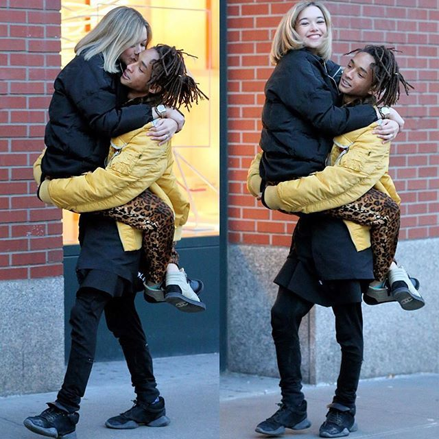 Jaden Smith spotted with girlfriend, Sarah Snyder in Alpha's Injector Flight Jacket.