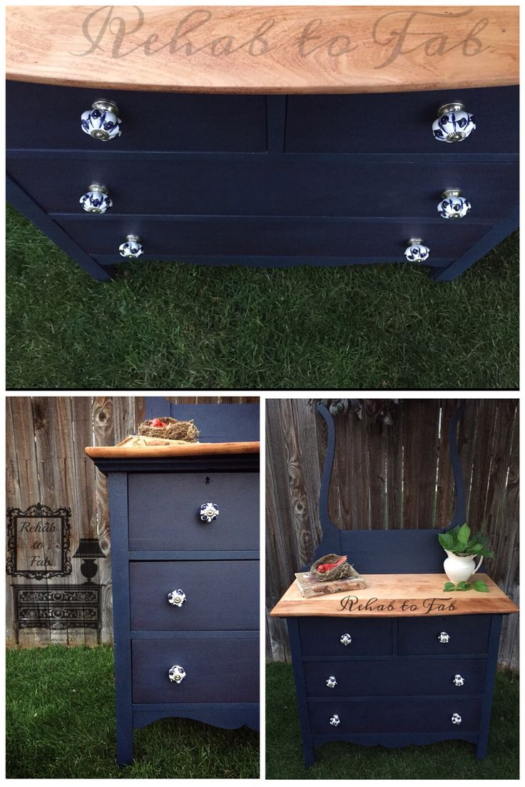 """Antique Wash Stand painted by Rehab to Fab. In @heirloompaint """"Naval"""" & Jet black wax. Heirloom Wash stand inspiration."""