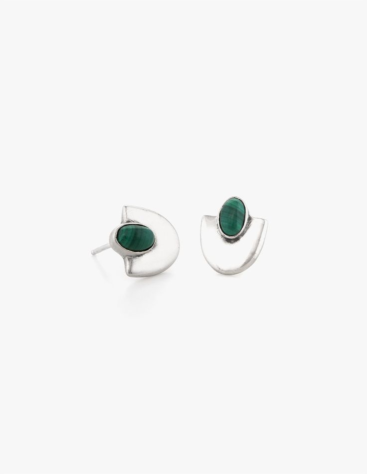Deco Studs #4 in Malachite - Dream Collective