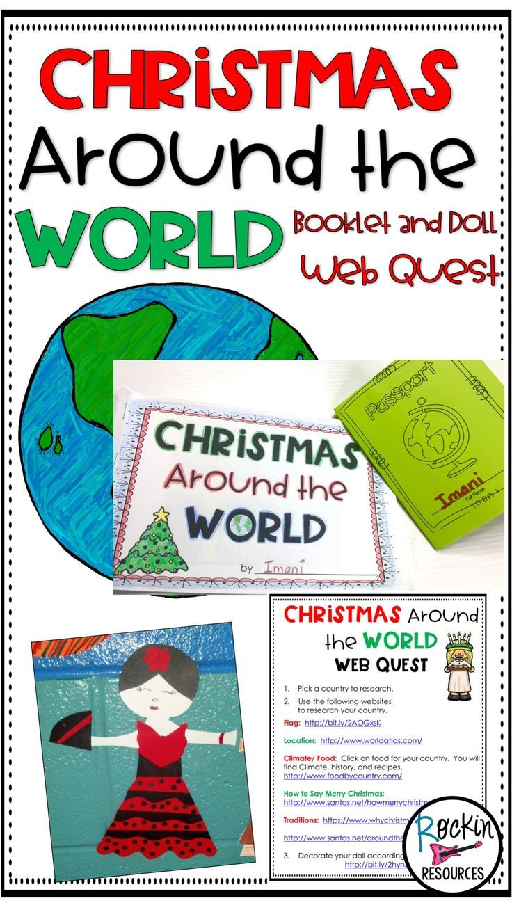 This Christmas Around the World Research project will have students engaged around the holidays! They will learn about different cultures through technology. There is a a web quest via a blog post or a clickable PDF that can be sent to students. A booklet is used to record interesting facts about holiday tradtions, food, locations, flags and climate. A doll pattern is provided to show traditional clothing. Then hold an International Food Fair! Everything is included for a successful study!