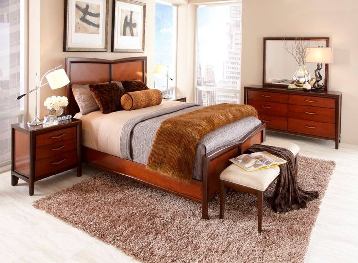 i like the bench at the end of the bed shop for a sofia vergara beverly hills queen dark cherry panel bedroom at rooms to go find bedroom sets that will
