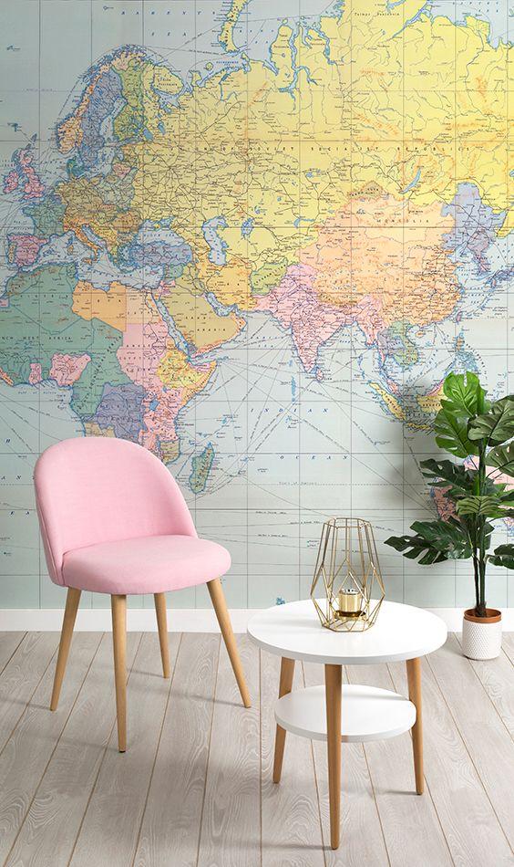 Vintage Pastel World Map Wall Mural Living Room WallpaperMap