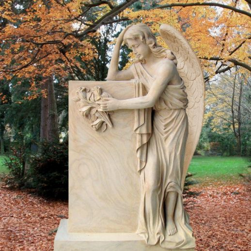 Schöne Sandstein Grab mit Engelfigur Florencia für ein Einzelgrab • Qualität & Service direkt vom Bildhauer • Jetzt Grabstein online kaufen bei ▷ Serafinum.de