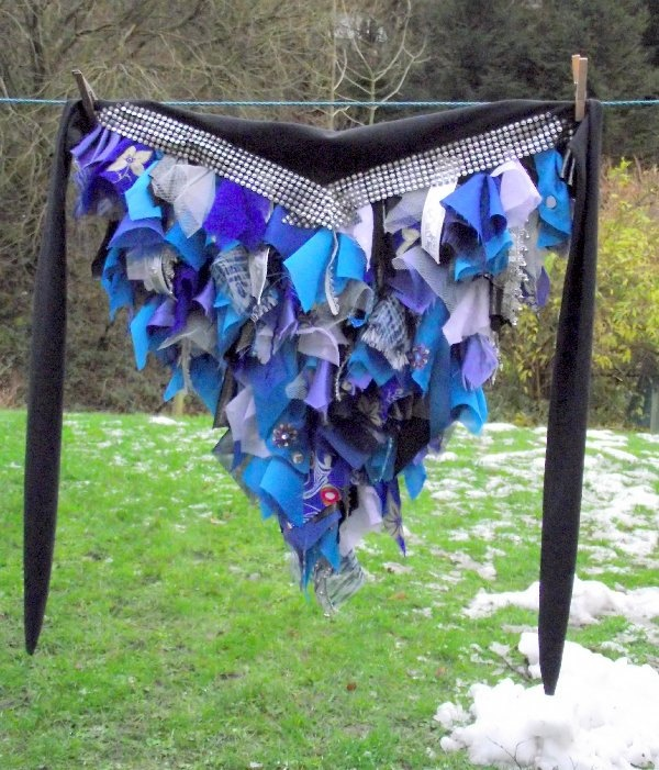 blue bustle belt for tribal belly dance, fusion dance