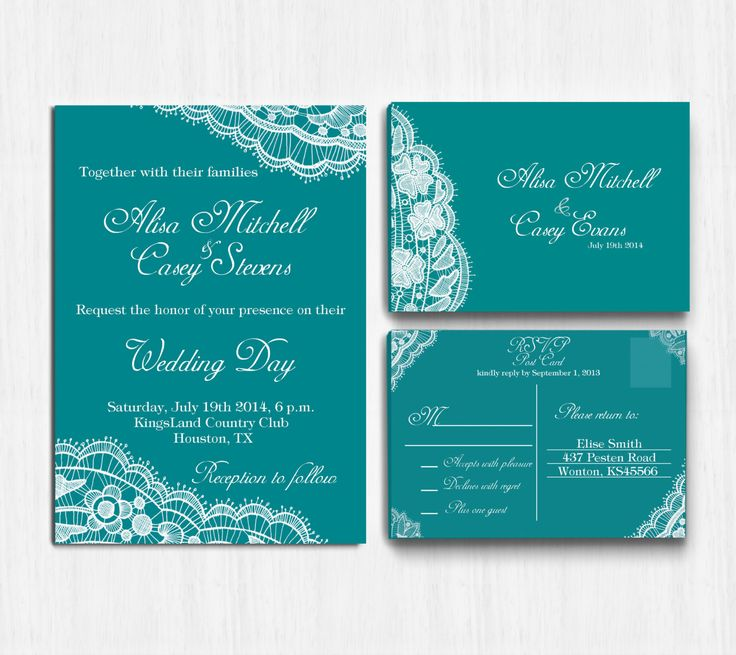 Lace Wedding Invitation Teal Invite By Printablemoon