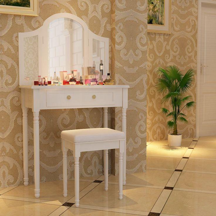 Songmics Coiffeuse meuble blanc-table de maquillage commode avec 3 miroirs rabattables et tabouret 136 x 80 x 40 cm RDT33W: Amazon.fr: Cuisine & Maison