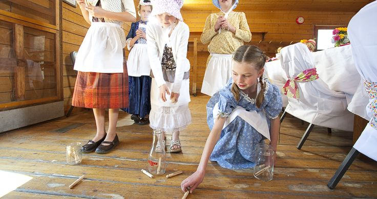Pioneer Game: The Clothes Pin Drop. Stand up straight and hold the clothes pin to your nose. Drop the pin from your nose; aim to get it into the jar. Use three different sized jars-- easy to challenging.