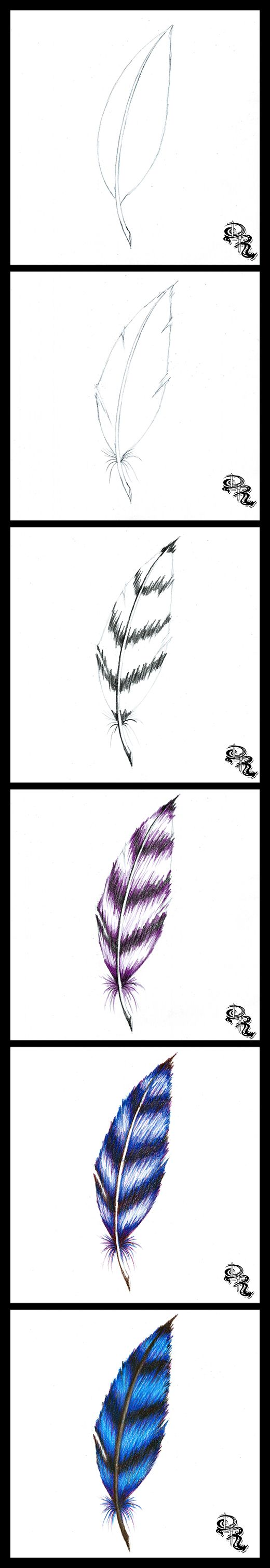 How to draw a feather with Colored Pencils. In this lesson I will teach you a fun way to create feathers with character and color. We will focus on our strokes, directional shading, and color blending in this lesson this time around.  Click the image for the full lesson.   #art #drawing #free #artlessons #lesson #feather #angel #bird #blue #diy #howto