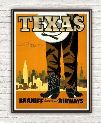 Vintage Poster of Texas  Tourism poster travel #vintagetravelposters