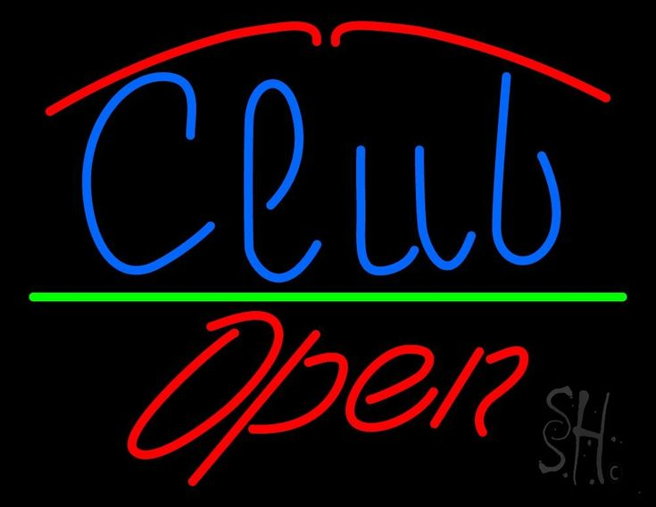 Club Script Open Neon Sign 24 Tall x 31 Wide x 3 Deep, is 100% Handcrafted with Real Glass Tube Neon Sign. !!! Made in USA !!!  Colors on the sign are Red, Blue and Green. Club Script Open Neon Sign is high impact, eye catching, real glass tube neon sign. This characteristic glow can attract customers like nothing else, virtually burning your identity into the minds of potential and future customers.