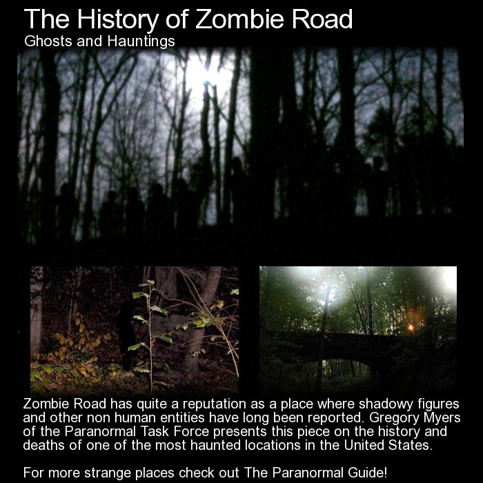 The History of Zombie Road. Zombie Road where the infamous shadow children photo was taken has quite a long and interesting history filled with death and strange encounters. Read all about it here: http://www.theparanormalguide.com/blog/the-history-of-zombie-road