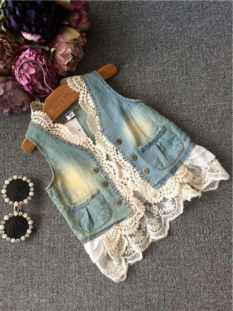 2015 moda outono menina crianças roupas rendas Denim colete Outerwear 5 pçs/lote