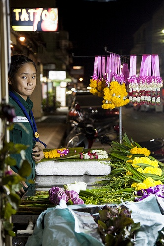 Flower Girl - Young girl selling flowers on the street in Hua Hin, #Thailand. #portrait
