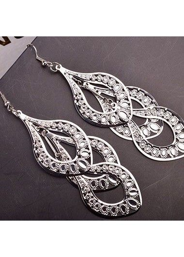 Metal Layered Design Silver Earrings for Woman | Rosewe.com - USD $5.50