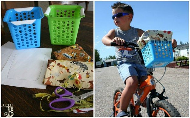 Tie a dollar-store basket to the front of your kid's bike. | 29 Dollar-Store Finds That Will Keep Your Kids Busy All Summer