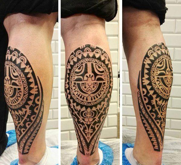 50 amazing calf tattoos polynesische t towierungen. Black Bedroom Furniture Sets. Home Design Ideas