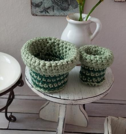 Miniature basket set  2 dollhouse crochet baskets  by DewdropMinis