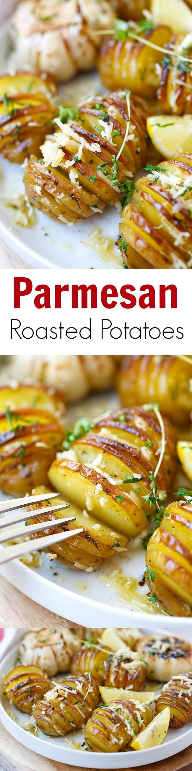 #thanksgiving #sidedish Parmesan Roasted Potatoes – the easiest and BEST roasted potatoes with Parmesan cheese, butter and herbs. SO good you'll want to make it every day!! | rasamalaysia.com