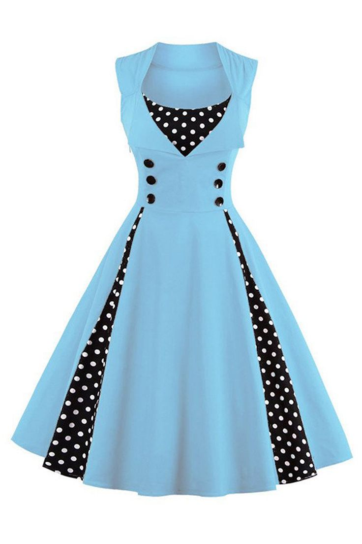 The Atomic Baby Blue and Black Polka Dot Rockabilly Party Dress features a beautiful baby blue sleeveless bodice with black and white polka dot insets in front and on both sides, a sweetheart bust with matching black and white polka dot inset, large black front accent buttons, an A-line construction with hidden side zipper closure. https://atomicjaneclothing.com/products/atomic-baby-blue-and-black-polka-dot-sleeveless-rockabilly-party-dress