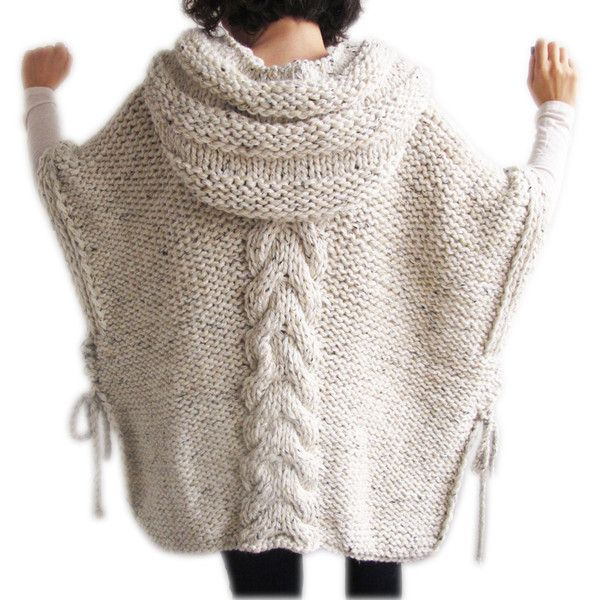 Winter 20 Plus Size Knitting Poncho With Hoodie Over Size Tweed Beige... ($92) ❤ liked on Polyvore featuring outerwear, black, women's clothing, knit poncho, beige poncho, cable knit poncho, plus size poncho and cable poncho