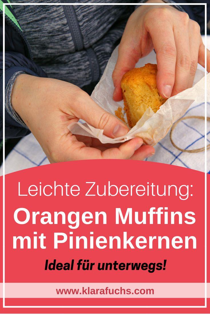 Wandersnack: Leckere Orangenmuffins mit Pinienkernen - Rezept leicht und einfach zu nachmachen.-KlaraFuchs.com- #rezept #muffins #outdoor #jause #wandern #backen #essen #kuchen #orangen