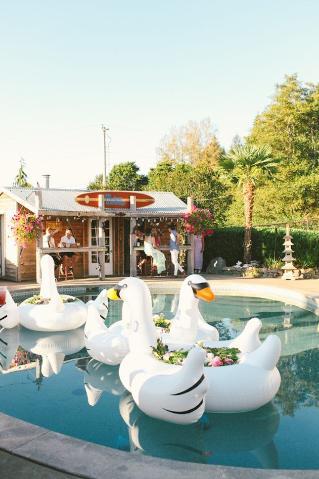 Pool Wedding Ideas cocktails and or buffet setup poolside wedding decorations poolside wedding reception ideas http 13 Breathtaking Ways To Dress Up A Pool For A Wedding