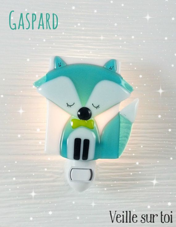 Nightlight fox turquoise fused glass forest friend by VeilleSurToi