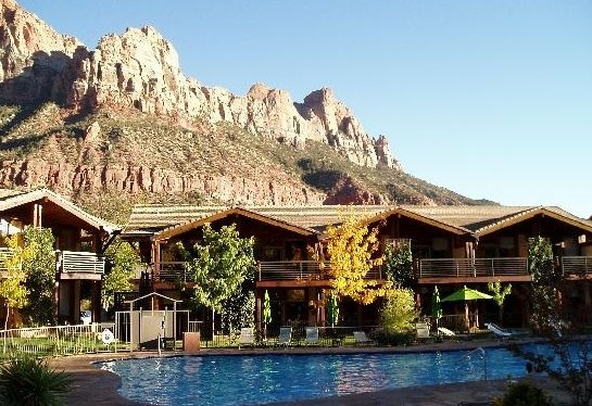 Desert Pearl Inn, Springdale, UT. This gem is just outside Zion National Park. Get a room that overlooks the river and a massive wall of red rocks.
