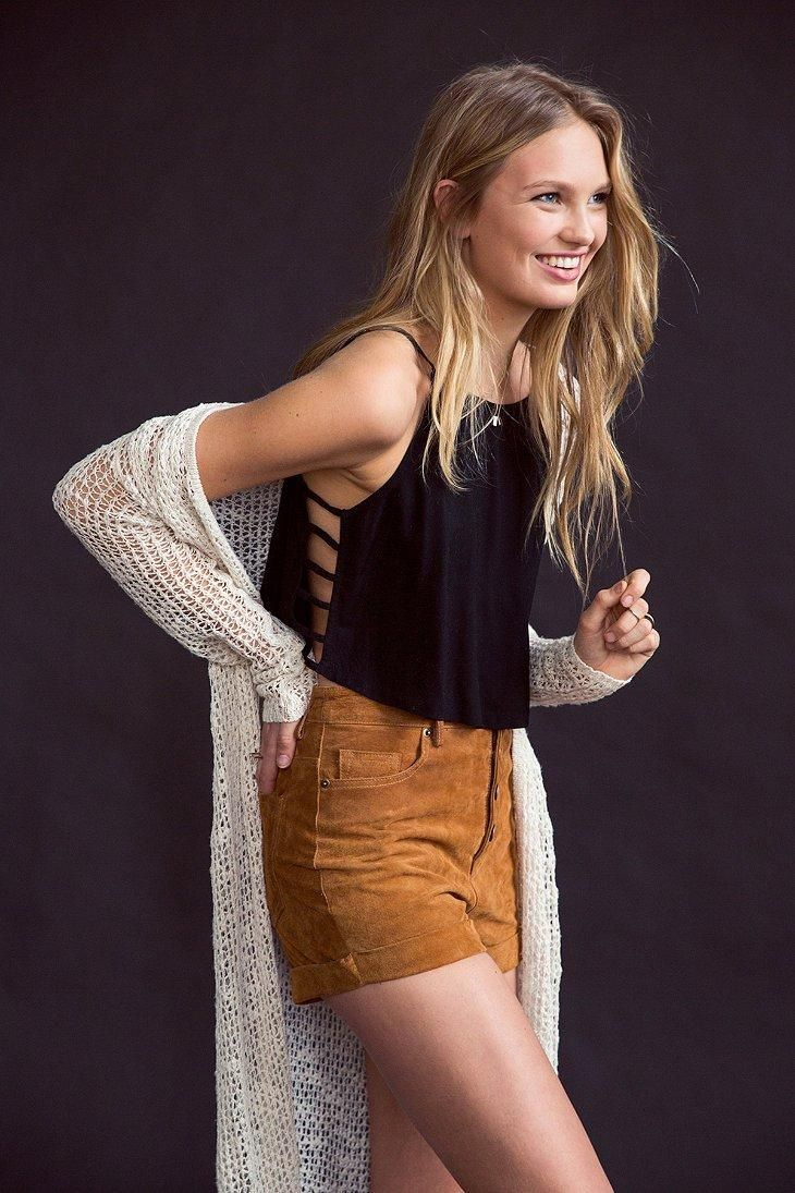 BDG Suede Foxy Exposed-Button Short #urbanoutfitters