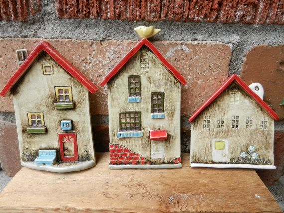 Ceramic houses set of 3 wall hanging pottery by potteryhearts
