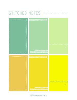 Freebie | Printable Stitched Notes | by Creativity Prompt / scrapbooking supplies