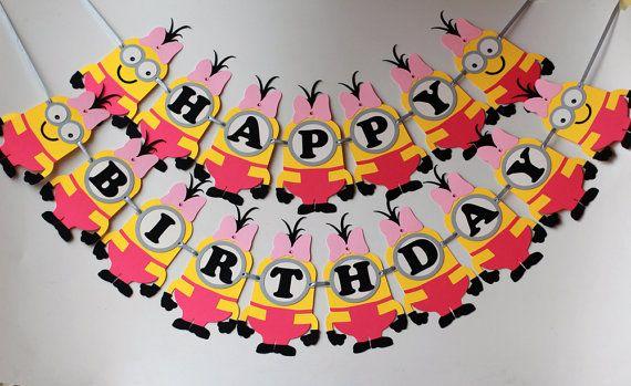 Minions inspired Girl Birthday Banner by RaisinsPartySupplies