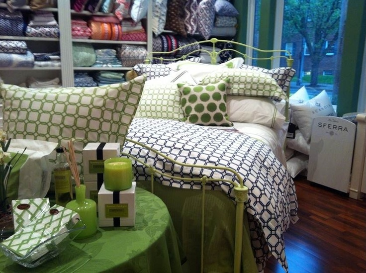 A punch of lively green makes this Barrington bed ensemble at Gattle's in Cincinnati, OH pop!