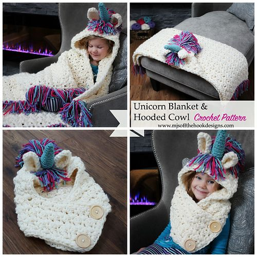 This is a PDF crochet pattern for a Bulky & Quick Unicorn Blanket! Pattern also includes a Hooded Unicorn Cowl in toddler-adult size. More