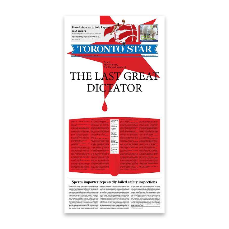 Front page design for The Toronto Star newspaper. . . . . . #graphicdesign @thetorontostar #cover #typography #typesetting #illustration #fidelcastro #cuba #newspaper @societyfornewsdesign @newspaperclub designer: @si.fani #toronto #canada #layout #aiga #aigadesign #print #Toronto #Ontario #Canada #newspaper #paper