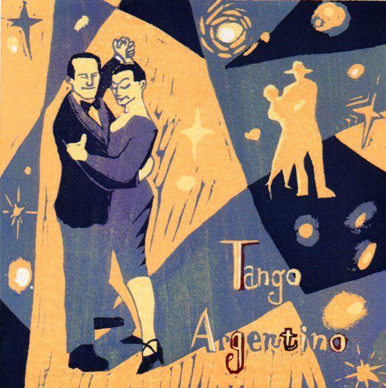 木版画・「タンゴ」 Woodcut / [the Argentine tango]