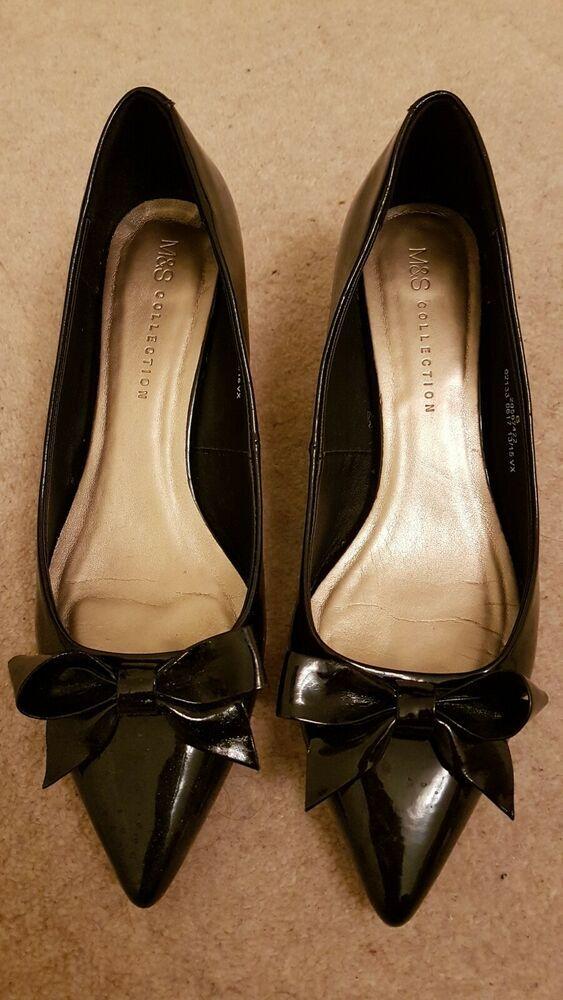 M&S Insolia Black Kitten Heels Pointy Shoes Size 6 Kitten