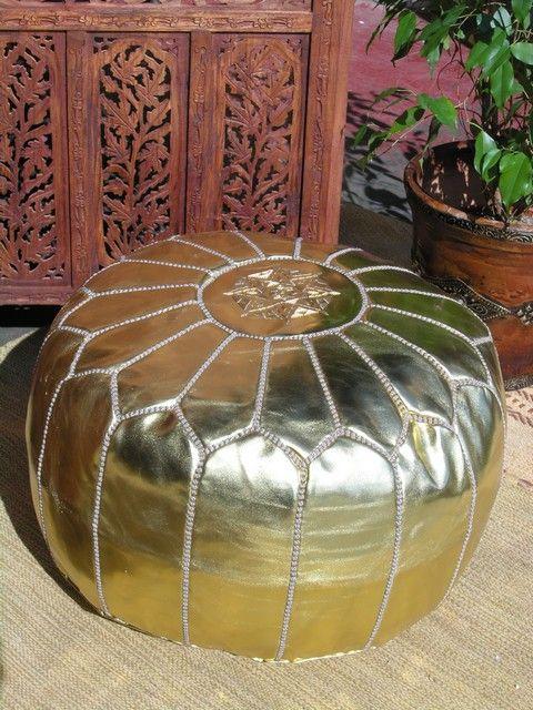 Moroccan gold faux leather pouffe. http://www.maroque.co.uk/showitem.aspx?id=ENT05334&s=10-30-064