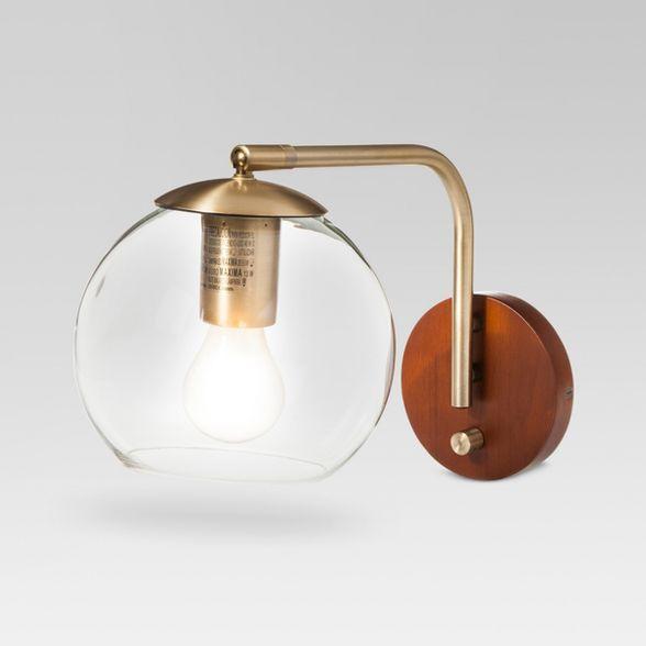 Madrot Glass Globe Wall Light Brass Project 62 In 2020 Brass