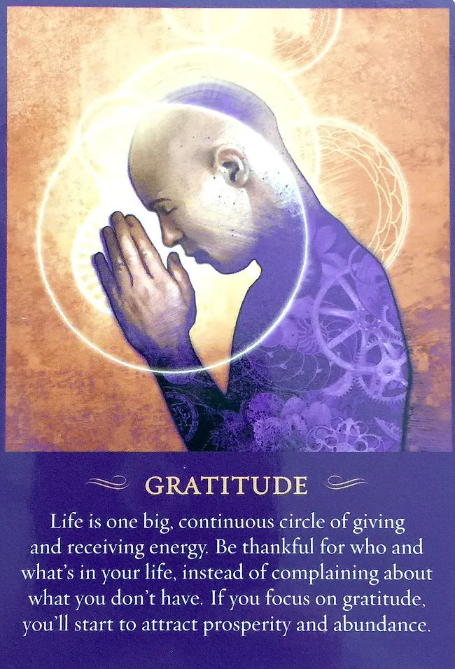 GRATITUDE ~ from The Spirit Messages Daily Guidance Oracle Deck by John Holland.