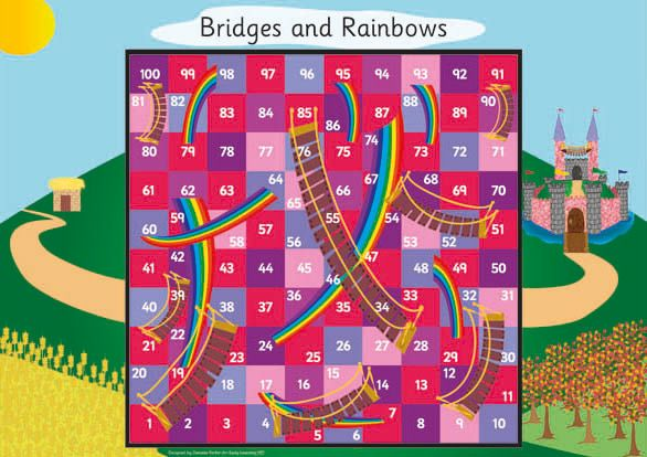 Princess Castle Board Game - Princess themed board game. It is a variation on snakes and ladders – using bridges and rainbows. The document is made up of 4 A4 pages which can be printed out and stuck together or mounted on to a large piece of card.