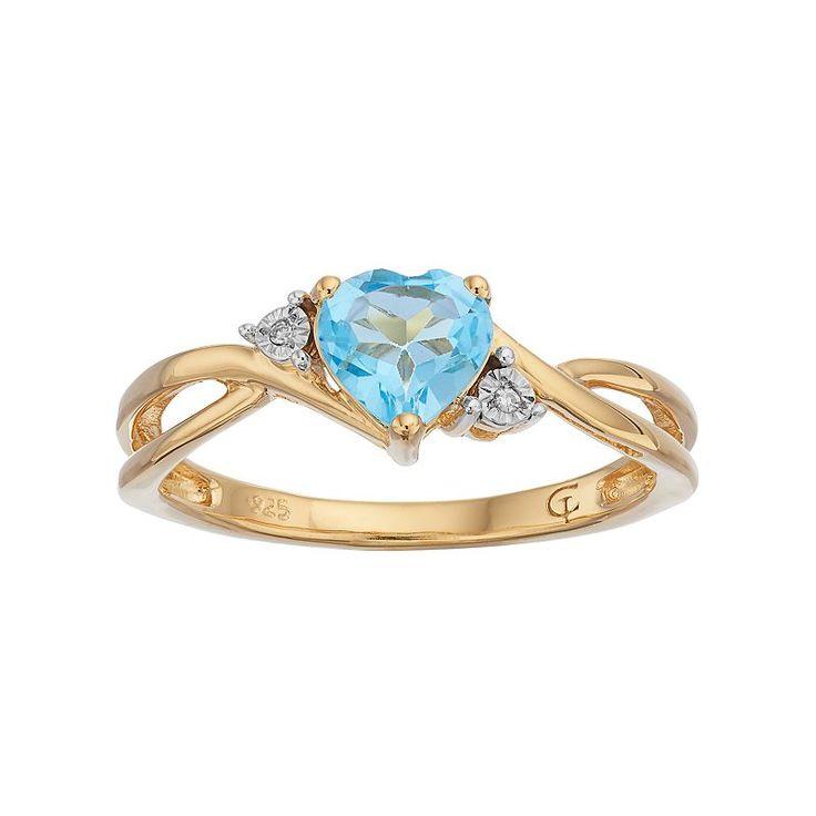 10k Gold Blue Topaz & Diamond Accent Swirl Heart Ring