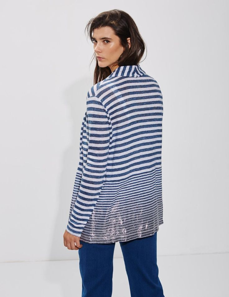 Yerse Striped linen jacket