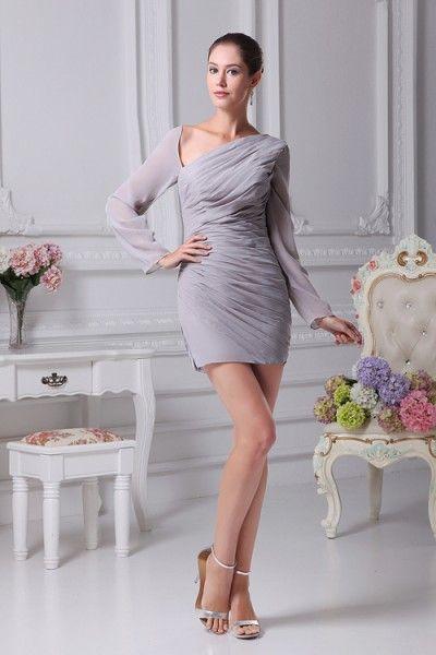Long Sleeve Irregular Neckline Short Sheath Dresses - Cocktail & Party - Special Occasion Dresses online sales - Hedy Bridal