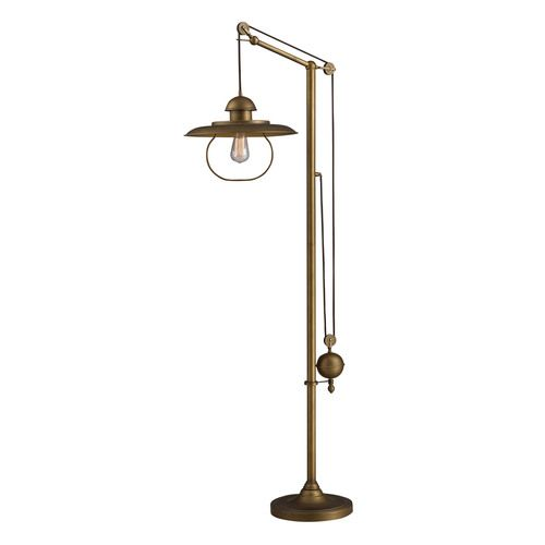 farmhouse 1 light led floor lamp in antique brass with matching metal shade d2254