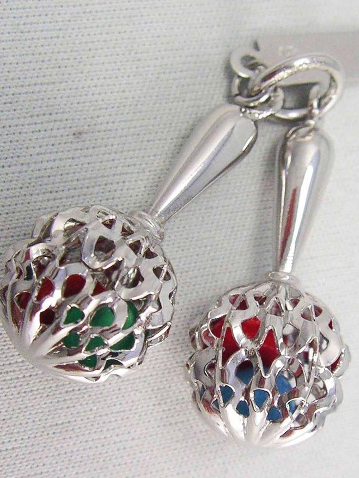 Vintage Sterling Silver 925 Shaking 3D MARACAS SHAKER Instrument Bracelet Charm