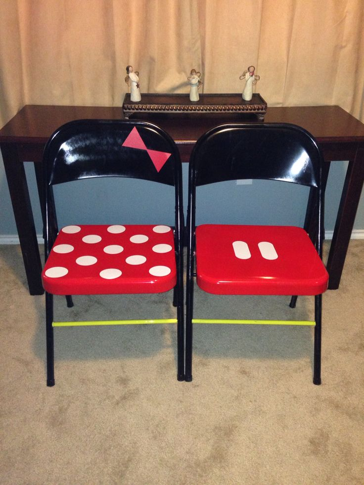 Mickey and Minnie Mouse folding chairs.  (Disney classroom theme)
