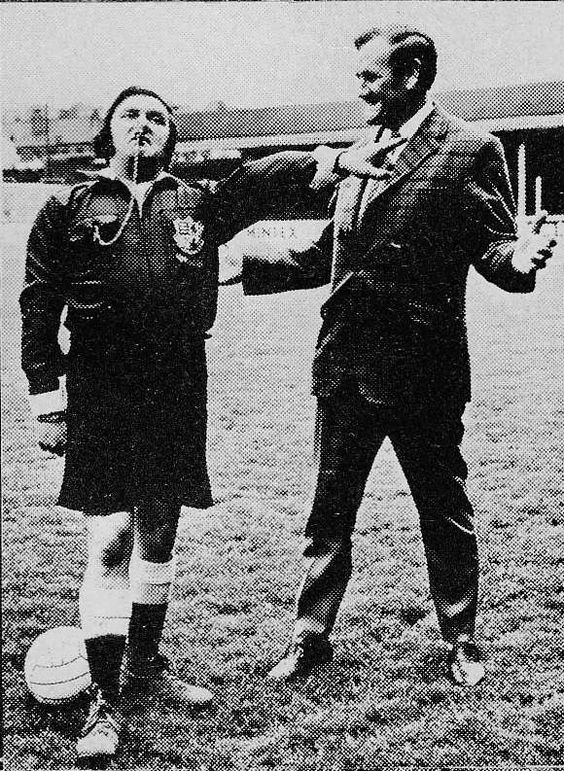 """1972. Don Revie appearing on Les Dawson's Yorkshire Television sketch show """"Sez Les""""."""