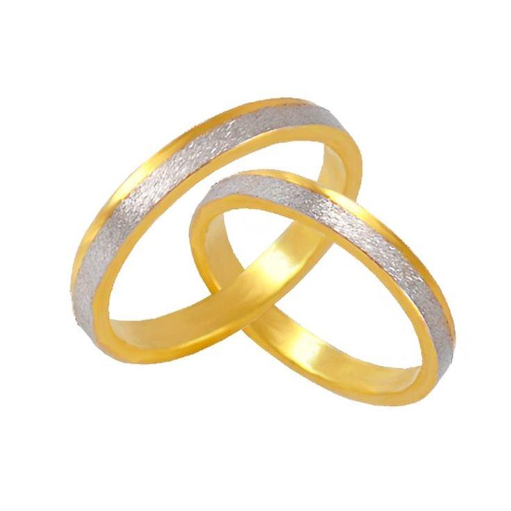 V33-143-30ΔΧ Δίχρωμη χρυσή βέρα γάμου από 225 € το ζευγάρι.