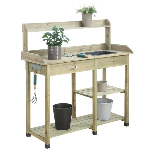 Get your gardening supplies organized with this deluxe potting bench from Convenience Concepts that features a large drawer and open shelves to meet your storage needs. Keep your essential tools withi